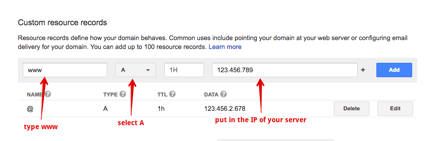 Add A record for the www subdomain